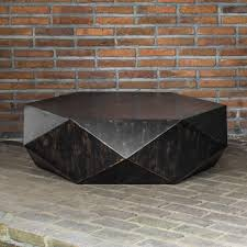 faceted large round wood coffee table modern geometric