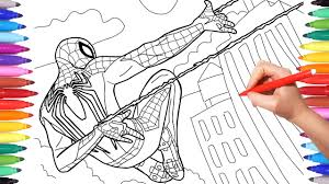 Top spiderman coloring pages for kids: Spider Man Ps4 Videogame 2018 Coloring Pages How To Draw Spiderman Playstation 4 Youtube
