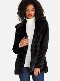 brave soul textured faux fur coat black