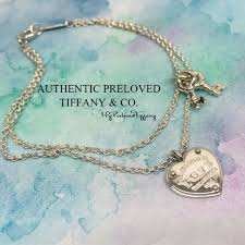 excellent authentic tiffany co return to love heart tag key bracelet silver women s fashion jewellery bracelets on carou