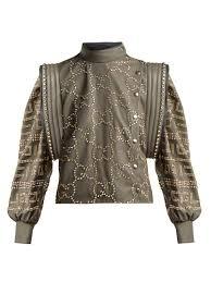 gucci crystal embellished leather jacket womens grey multi