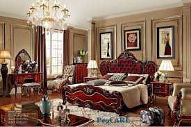 Simple Italian Wood Furniture Style Red Solid Carving Bedroom With Creativity Design