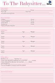 Babysitter Information Sheets 15 Babysitter Information Sheet Lettering Site