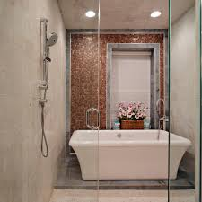 Transitional Spa Bathroom Features Freestanding Bathtub. A walk-in shower  ...