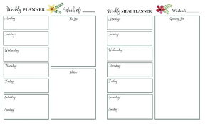 Weekly Schedule Printable Word Planner Pages Template Agenda