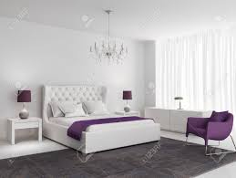 Weiße Luxus Schlafzimmer Mit Lila Sessel Und Teppich Lizenzfreie