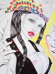 Tehachapi State Prison Tehachapi State Prison Art Indian Girl Smokin Drawing 1876212098