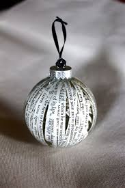 For the reader: Pages of a favorite book - 75 Ways to Fill Clear Glass  Ornaments {Homemade Christmas Ornaments} - Refunk My JunkRefunk My Junk