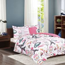 crest home amour twin paris comforter 4 piece bedding set pink eiffel tower french caf