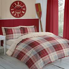arran red flannelette duvet set
