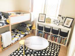 Small Shared Bedroom Shared Boys Geometrical Bedroom Combination Of Ikea And Kmart