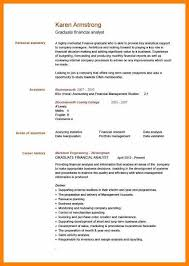 Example Of A Written Cv.pic Graduate Financial Analyst Cv Example ...