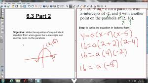 how write equation for parabola photo excellent 6 3 writing the standard form when given graph
