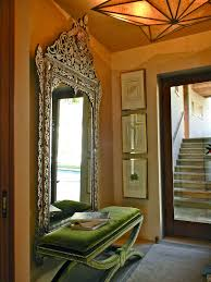 glamorous large wall mirror design for foyer decorating ideas with green bench seat decor ideas