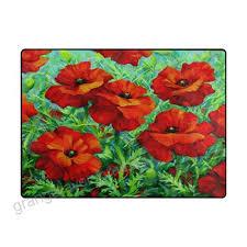 alaza art red poppy flower area rug rugs for living room bedroom 5 3 x