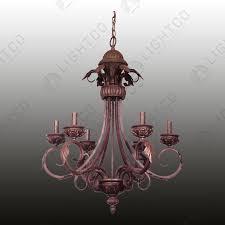 chandelier wrought iron 6 light leaf design