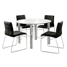 chrome furniture. iohomes 5pc glass top chrome leg round dining table set metalblack furniture of america