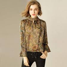 Female Office Shirt Designs Senarai Harga Blouse Women 50 Silk Pullovers Shirt Printed
