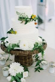 Cakes Desserts Photos Three Tier White Cake Greenery Inside