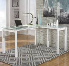 Buy shape home office Greenforest Baraga White Finish Metal Ldesk With Frosted Glass Top By Ashley Signature Design Better Homes And Gardens Ashley Signature Design Baraga White Finish Metal Ldesk With