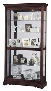 display cabinet in cherry wood finish with sliding glass door and lighting