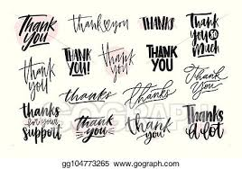 Thank You Cursive Font Eps Vector Collection Of Creative Thank You Lettering