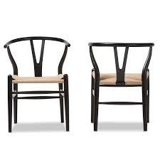 Black Wood Dining Chairs Amazoncom Baxton Studio Wood Wishbone Y Chair Black Chairs