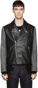 mcq alexander mcqueen black leather wool biker jacket