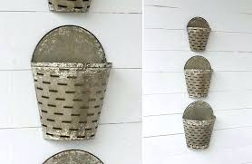 galvanized olive wall bucket set rustic farmhouse metal of