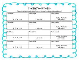 Parent Volunteer Sign Up Sheet Open House
