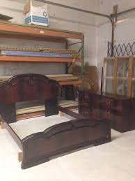 ITALIAN MAHOGANY BEDROOM set includes a bed frame and dresser