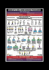 Professional Fitness Wall Chart Warm Up And Cool Down