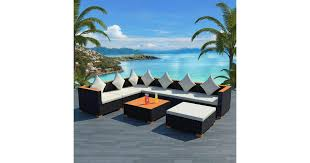 <b>8 Piece Garden Lounge</b> Set with Cushions Poly Rattan Black - Matt ...