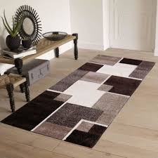 pyramid decor renzo collection easy clean stain and fade resistant luxury brown area runner rug for living room bedroom kitchen modern geometric space