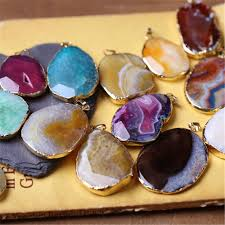 whole uni jewelry making agate natural stone pendant bohemian style loose gemstones for bracelets necklace diy silver heart necklace pendants for men