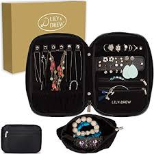 amazon lily drew travel jewelry storage carrying case jewelry organizer with removable pouch in gift box v1b black home kitchen