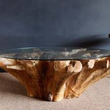 teak root coffee table round glass top