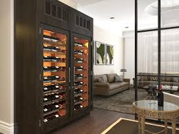 wine cellar cabinet.  Cellar Vigilant Double Wine Cabinet In Espresso Stain With A Top Mounted Cooling  System Entry Doors In Wine Cellar Cabinet C