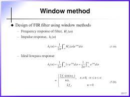 Frequency Sampling Method Fir Filter Design Chapter 7 Finite Impulse Response Fir Filter Design Ppt