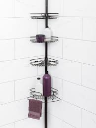 Plastic Corner Shower Shelves Bathroom Modern Tension Pole Corner Shower Caddy Wrought Iron 97