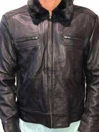 faux fur collar men s leather jacket