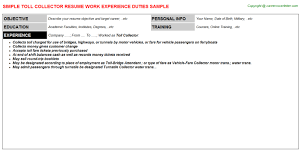 Toll Collector Resume Sample Job Descriptions And Duties