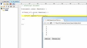 Append/Add and Remove HTML Elements: jQuery - YouTube