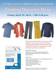santa clara county reentry resource center holds clothing donation the