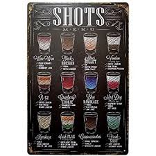 erlood shots menu retro vintage bar metal tin sign poster ptyle wall art pub bar decor on bar themed wall art with amazon erlood shots menu retro vintage bar metal tin sign