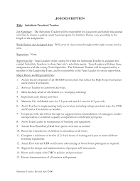 Preschool Teacher Job Duties For Resume Jd Templatescher Aide Job Description Resume Preschool Classy 7