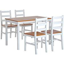hom 5 piece solid pine wood table and chairs dining set white