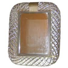 elegant hand blown mid century modern venetian glass frame mirror with twisted clear blown