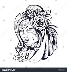 Small Picture Day Dead Makeup Girl Flowers Hair Stock Vector 697800448