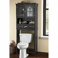 Black bathroom space saver over toilet